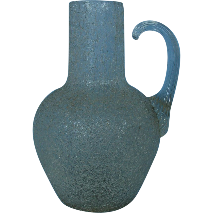 19th Century English Crackle Glass Jug with Applied Handle