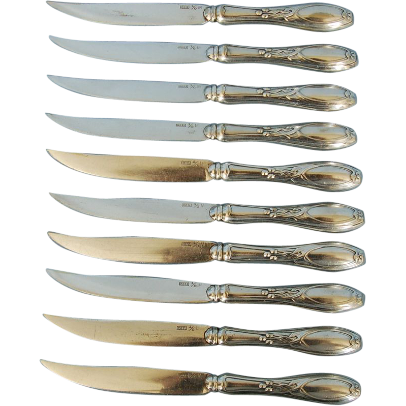 Set of 19th Century Polish Art Nouveau Silverplate on Brass Fruit Knives