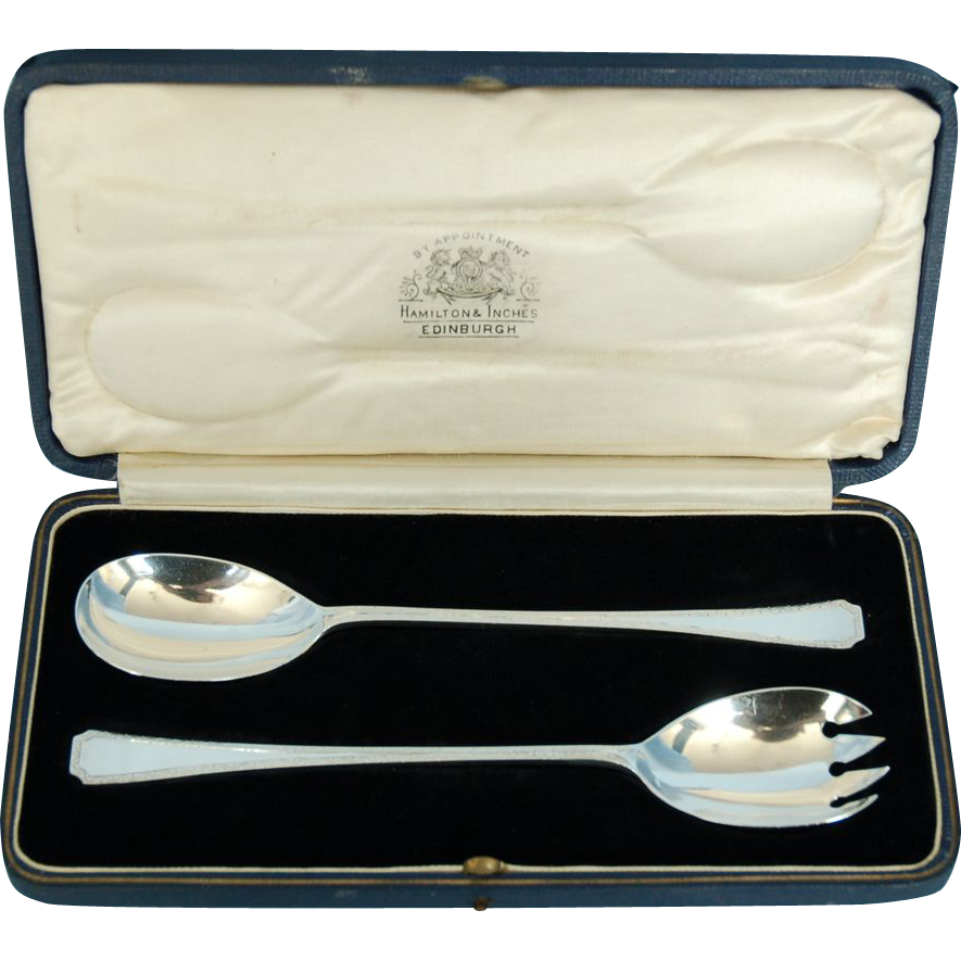 Early 20th Century English Sterling Silver Art Deco Salad Servers by Thomas Bradbury & Sons