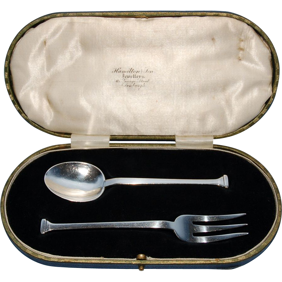 Early 20th Century English Sterling Silver Seal-Top Child's Fork & Spoon in Original Case