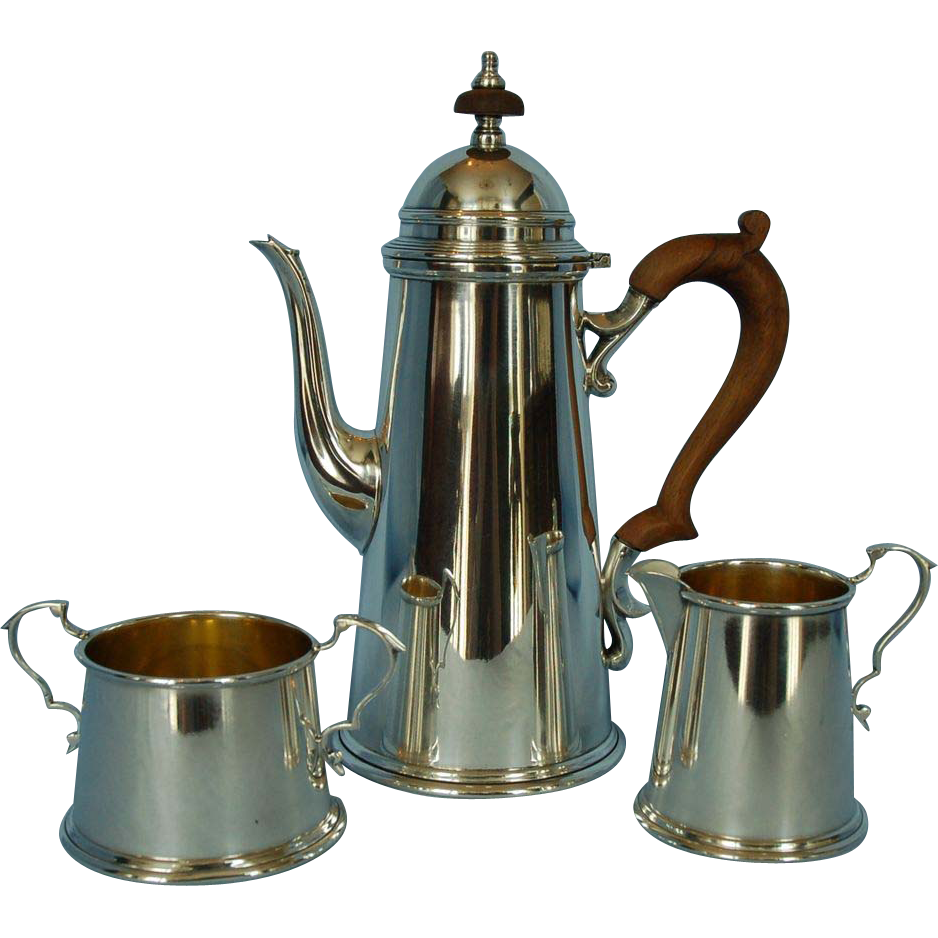 Mid-20th Century American Sterling Silver Three-piece Coffee Set by Redlich Silver Company, New York
