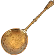 Mid-20th Century Danish Burnishd Gilt Silver Spoon by Peter Hertz