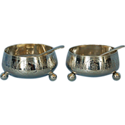 Pair 19th Century Sterling Silver Open Salt Cellars & Spoons by Ephraim Tysall