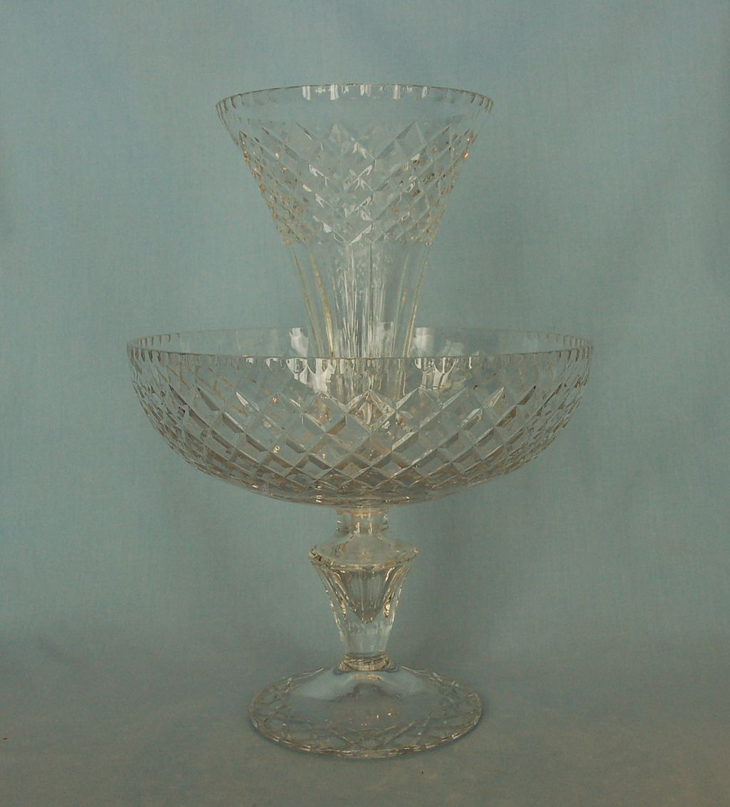 Early 20th Century Irish or English Cut Glass Ėpergne