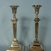 Mid-19th Century Pair of English Adams-style Silverplate Candlesticks by Martin Hall & Company