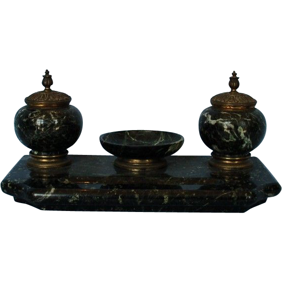 Early 20th Century French Antico Verde Marble Standish