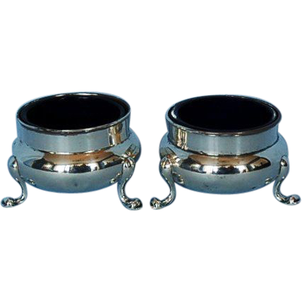 Pair Early 20th Century Gorham Sterling Silver Open Salt Cellars with Cobalt Liners