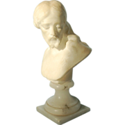 Vintage Italian Marble Bust of Christ on Onyx Socle