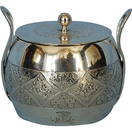 Early 19th Century Austrian Hand-hammered 800 Fine Silver Covered Sugar Bowl