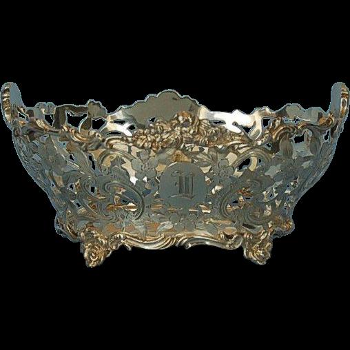 19th Century English Sterling Silver Basket by Daniel & John Wellby