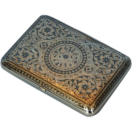 19th Century Russian 875 Niello Silver Cigarette Case with Latvian Import Marks