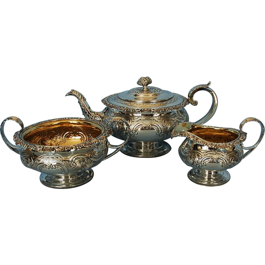 Early 19th Century Scottish Sterling Silver Tea Set by George McHattie