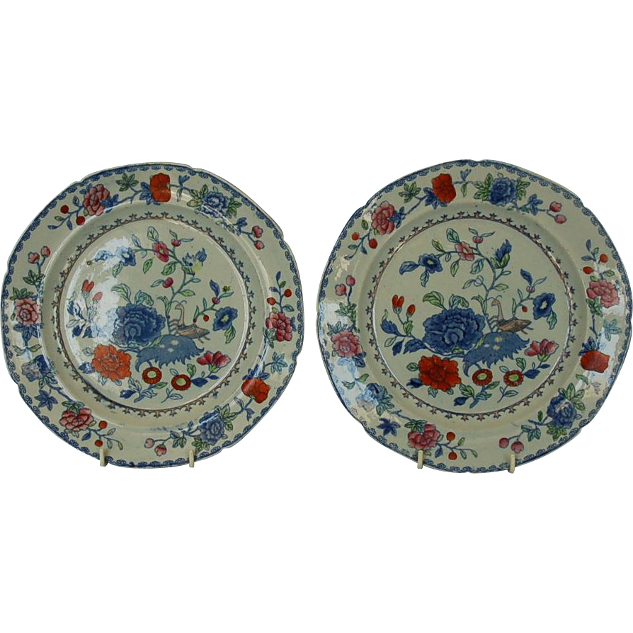 Early 19th Century Mason's Ironstone China Plate in Indian Grasshopper pattern