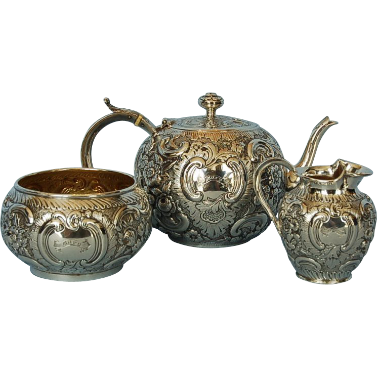 19th Century Scottish Three-piece Sterling Silver Bachelor's Tea Set by J.H.