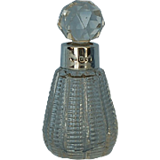 19th Century English Clear Glass Perfume Scent Bottle with Sterling Silver Collar by William Richard Corke