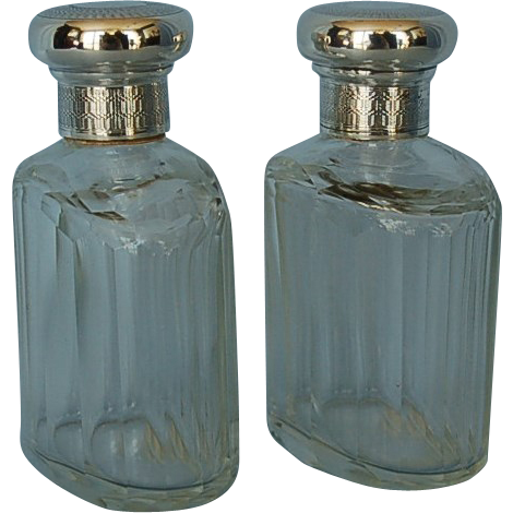 Vintage Pair English Clear Glass Dresser Jars with Sterling Silver Covers Mappin & Webb