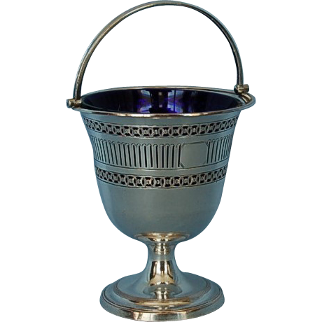 18th Century Old Sheffield Plate Pierced Sugar Basket with Original Blue Glass Liner