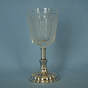 19th Century Dutch Wine Glass on 833 Fine Silver Mounted Base