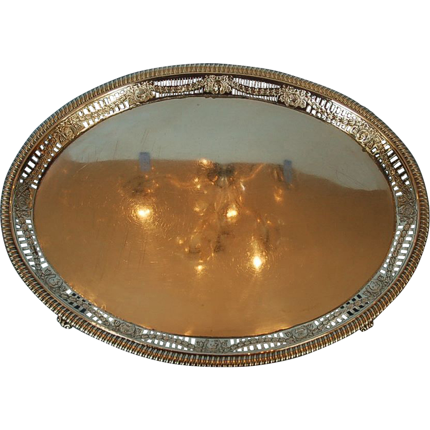 Early 19th Century English Sterling Silver Footed Tray by Thomas Hannam & John Crouch