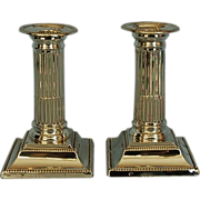 Pair 19th Century English Sterling Silver Fluted Doric Column Candlesticks by Robert Favell