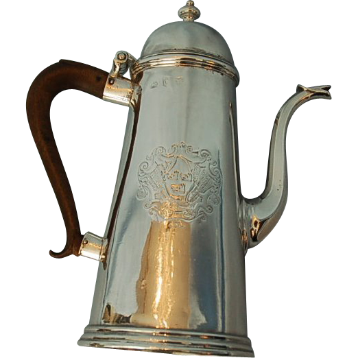 18th Century English Sterling Silver Coffee Pot by Humphrey Payne