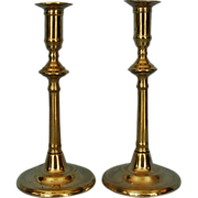 Pair 18th Century English Brass Candlesticks