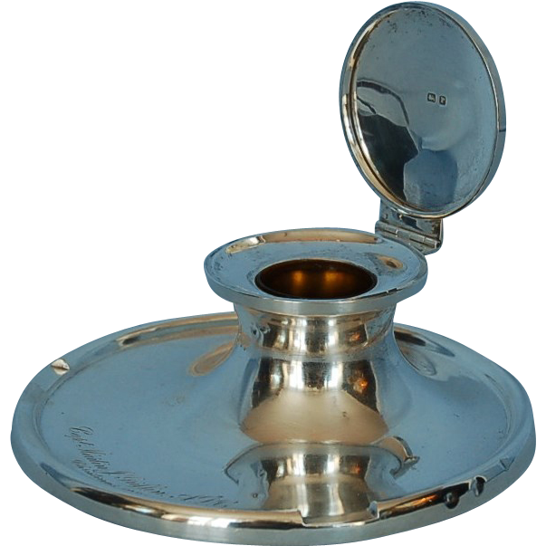 George VI Sterling Silver Capstan Inkwell by S. Blanckensee & Sons