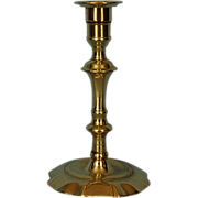 18th Century English Brass Petal Base Candlestick