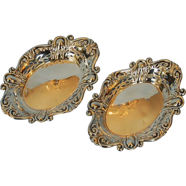 Pair Antique Sterling Silver Bonbon Dishes by James Dixon & Sons