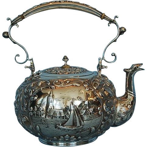 Vintage Dutch 833 Fine Silver Hot Water Kettle Schoonhoven 1916