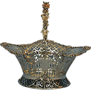 English George V Sterling Silver Basket with Swinging Handle by Sebastian Henry Garrard