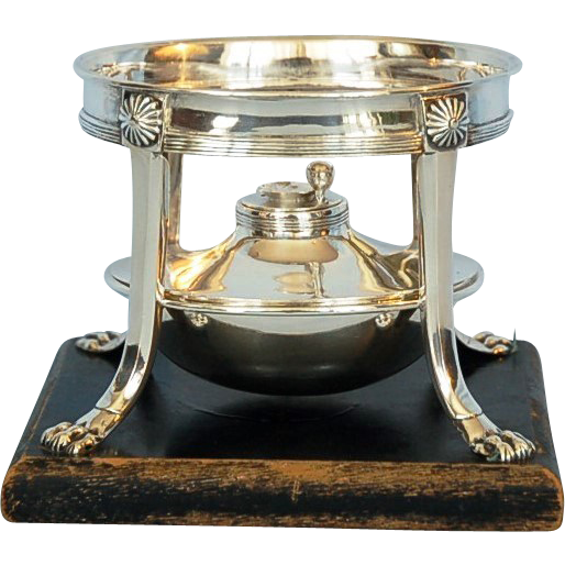 Early 19th Century Dutch 833 Silver Brazier on Wooden Base