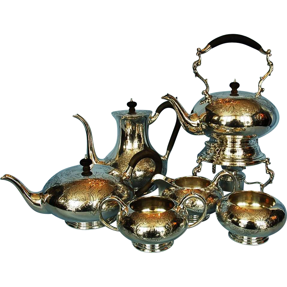 Vintage Six-piece Birks Sterling Silver Brentwood Pattern Tea & Coffee Service
