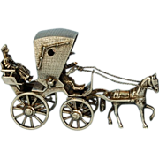 Vintage Dutch 835 Fine Silver Miniature Horse & Carriage
