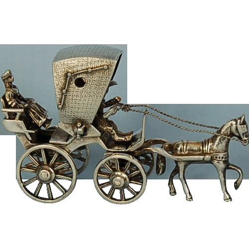 Vintage Dutch 835 Fine Silver Miniature Horse & Carriage