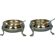 18th Century Pair George II Sterling Silver Open Salt Cellars by James Waters