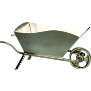 Antique English George V Sterling Silver Wheelbarrow Dish by William Hutton & Son