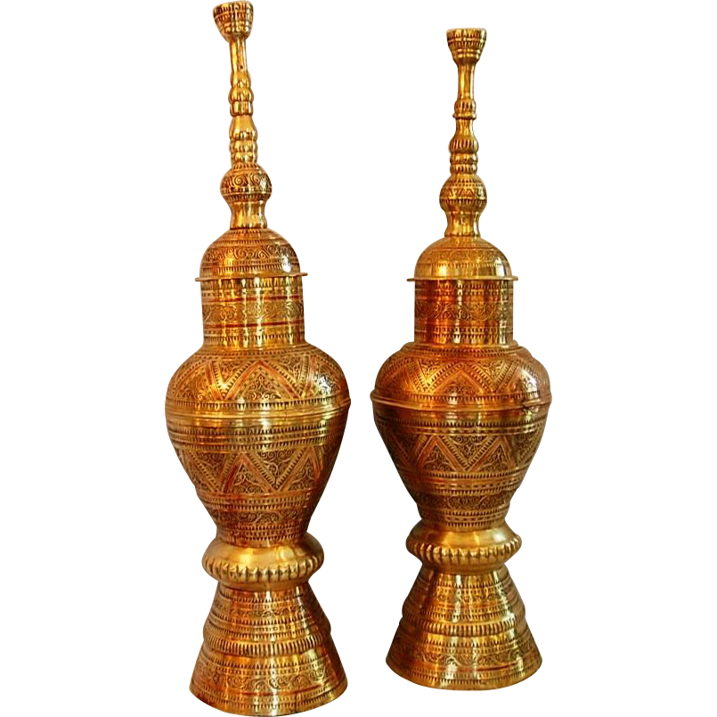 19th Century Pair Brass Kabu