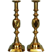 "19th Century Pair English ""Diamond King"" Brass Candlesticks"