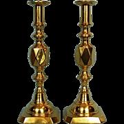"19th Century Pair English ""Diamond King"" Brass Candlesticks"
