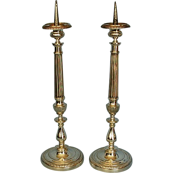 Pair 19th Century English Silvered Brass Pricket Candlesticks