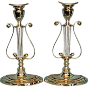 Pair Antique Georgian-style English Silverplate Lyre-shaped Candlesticks by Barker-Ellis