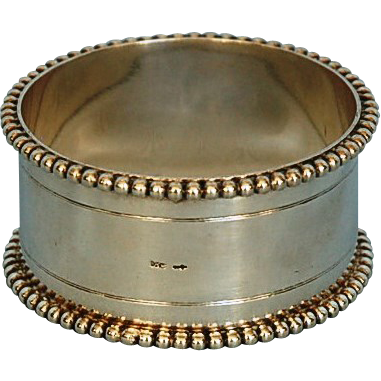 Early 20th Century Dutch 833 Fine Silver Napkin Ring by Van Kempen