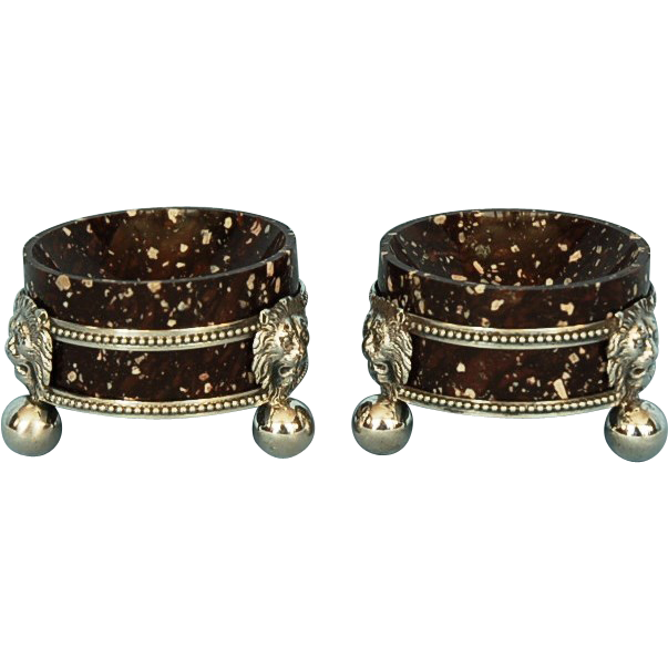 19th Century Pair of Rare Swedish Porphyry Salt Cellars in Silver Stands