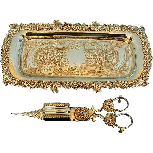 Early 19th Century Old Sheffield Plate Snuffer Tray by R. Gainford & Pair of Snuffers