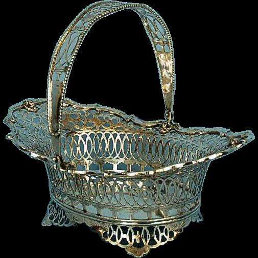 Vintage Dutch 833 Fine Silver Hand-hammered Pierced Basket Dated 1933