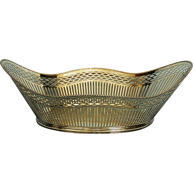 Early 20th Century Dutch 833 Fine Silver Pierced Basket