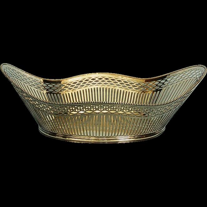 Early 20th Century Dutch 833 Fine Silver Pierced Basket