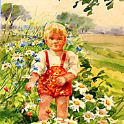 Original Signed Watercolor on Paper of Guri in a Field of Wildflowers by Grand Duchess Olga Alexandrovna