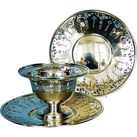 Two Birks Sterling Silver Sandwich Trays and a Footed Bonbon Bowl, Circa 1930